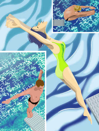 Man and woman jumping from diving board into swimming pool