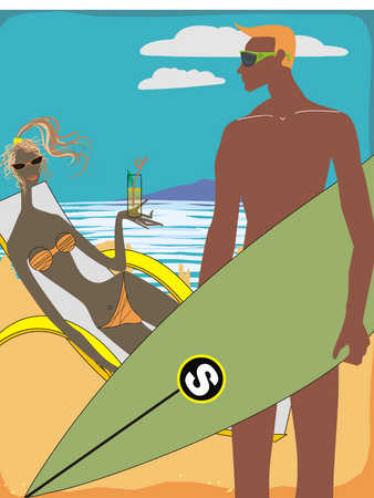 Man with surfboard looking at woman reclining on deckchair