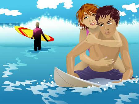 Couple on pool raft, man holding surfboard