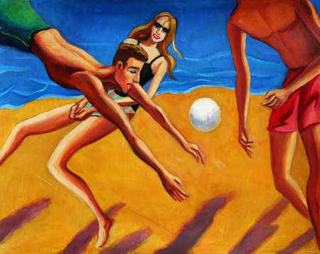 Men and women playing volley ball on beach