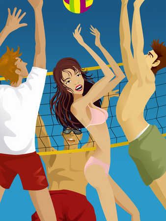 Men and woman playing volley ball