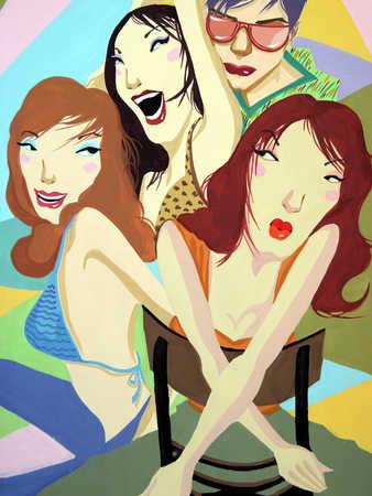 Four women sitting, looking away, close-up