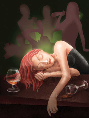 Young woman asleep at table in bar, besides wine glass
