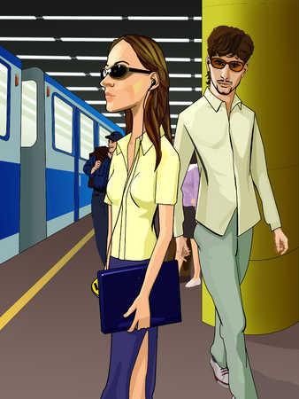 Young men and woman at subway platform