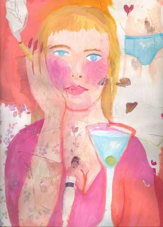 Woman smoking cigarette, portrait
