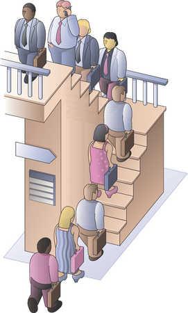 people walking up stairs