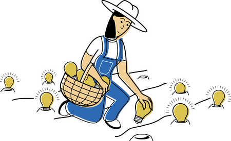 woman picking light bulbs