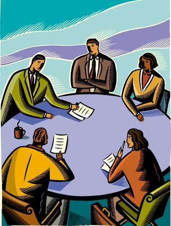 Business people discussing in meeting, elevated view