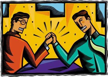 Two businessmen arm wrestling, close-up