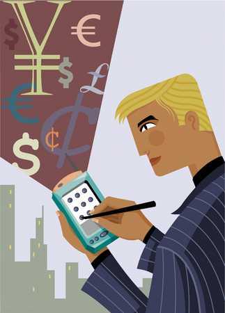 Businessman using palmtop, close-up
