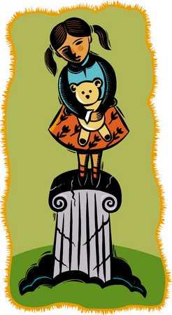Girl (2-3) standing on pillar