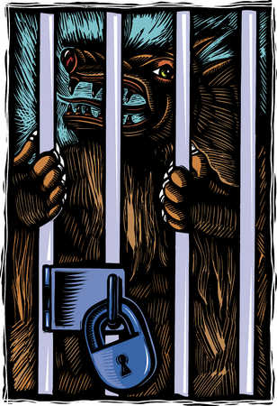 monster in locked cage