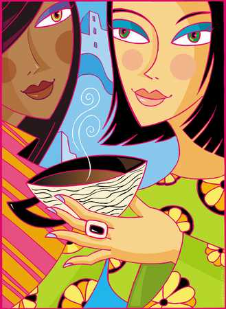 Two young women, with coffee cup