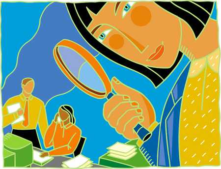 Businesswoman examining workers through magnifying glass