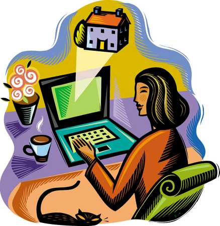 Woman working from home, using laptop