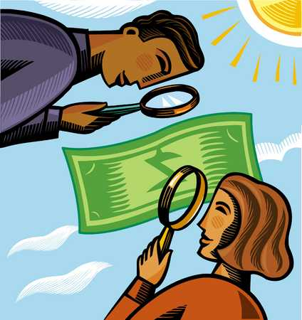 Business people examining currency through magnifying glass