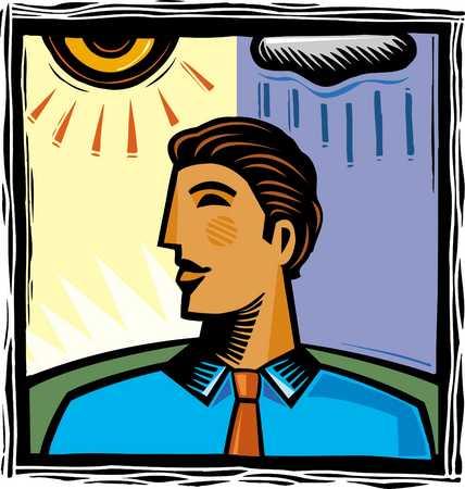 Businessman looking away, close-up