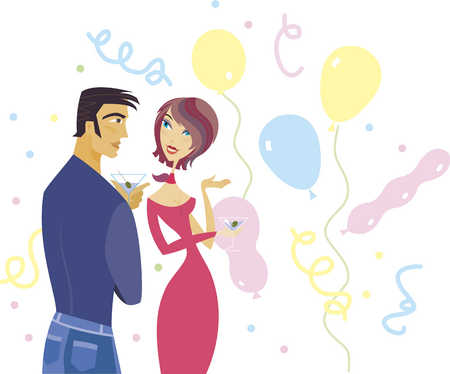 Young couple holding martini glass