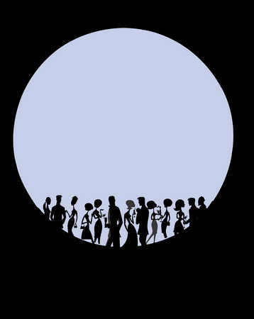 group of partiers silhouetted by a large round moon