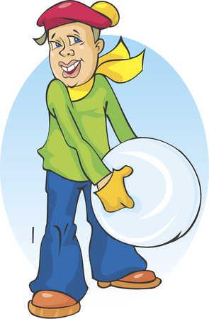 boy holding giant snowball
