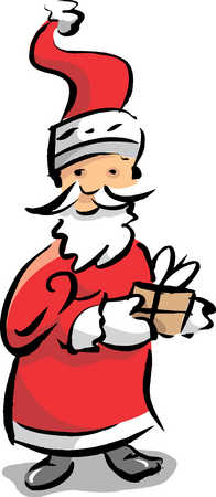 Santa clause with gift, close-up
