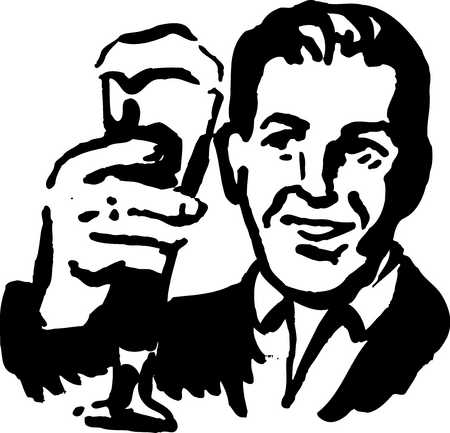 man holding up a beer glass