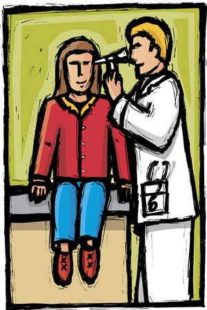 Male doctor examining woman's ear