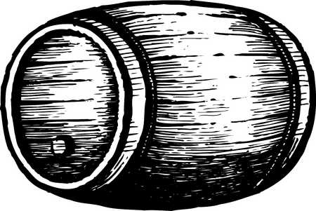 A black and white drawing of a barrel