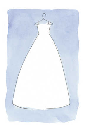wedding dress on blue background