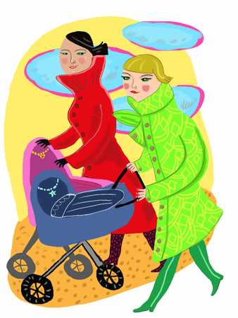 Young women holding baby trolley