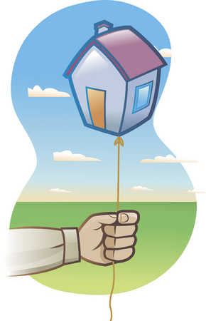 man holding a balloon in the shape of a house