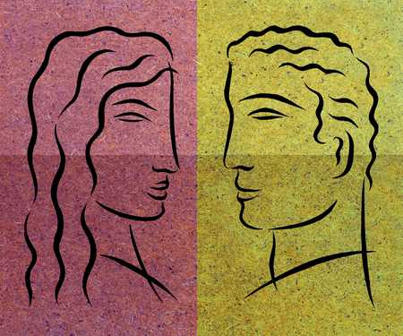 man and woman facing each other