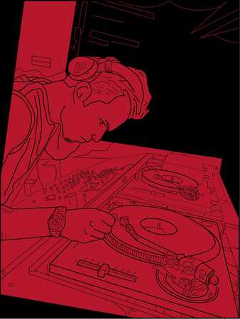 Disc jockey playing record, elevated view