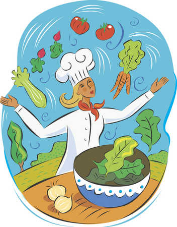 Chef juggling healthy food