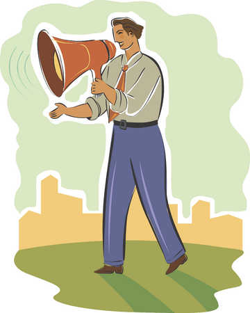 Businessman talking through megaphone, close-up