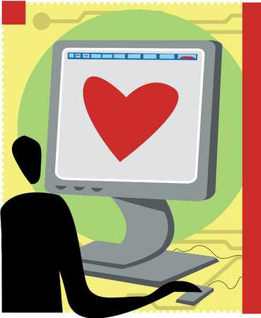 Man with heart shape on computer screen