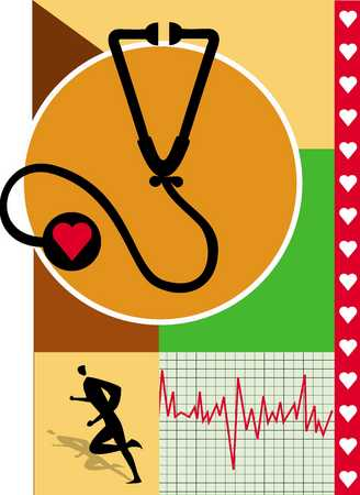 Stethoscope and pulse trace, close-up