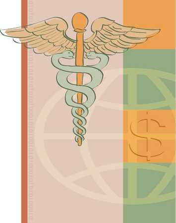 Dollar sign on globe and caduceus, close-up