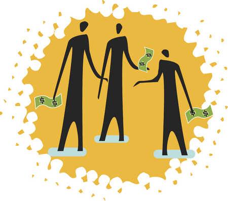 three people holding money