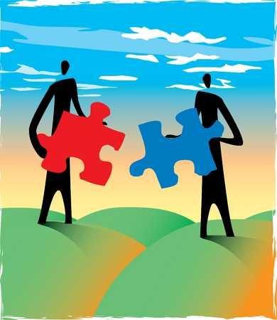 two men holding puzzle pieces