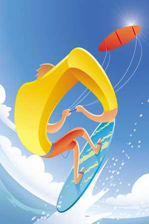 Man kitesurfing, close-up