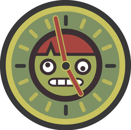 stressed out man in a clock