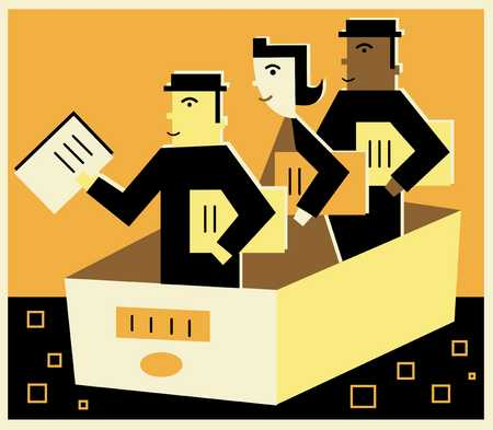 three people in a file drawer holding documents