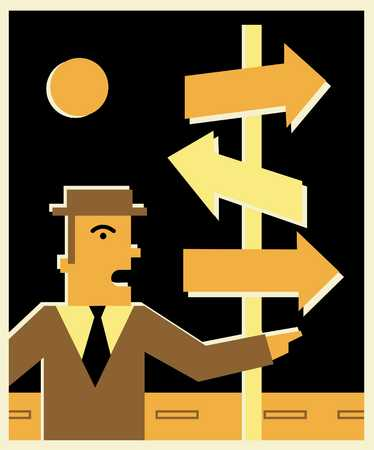 businessman standing in front of directional arrows