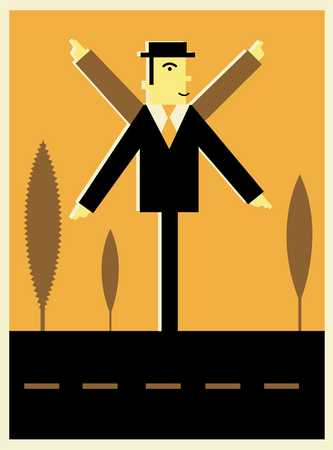 businessman as direction sign