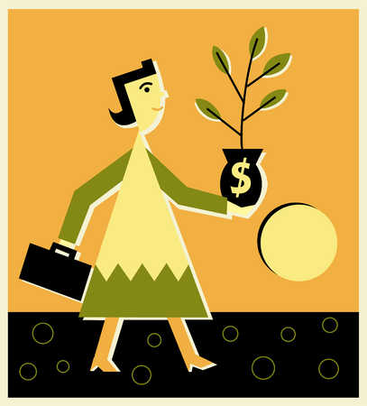 woman holding a money plant