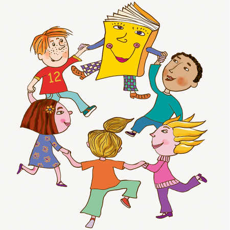 kids dancing with a book