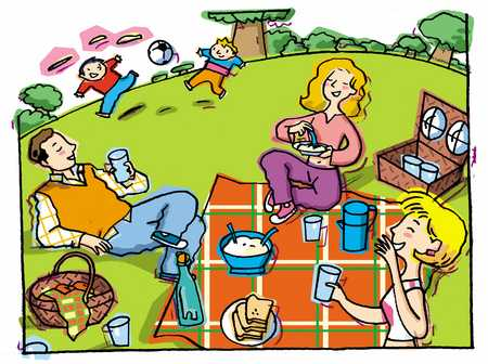 Stock Illustration - family picnic