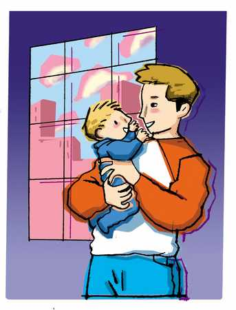 father holding baby son