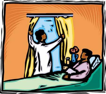 Nurse opening window in patient's room